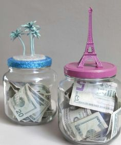 Decorate mason jars to motivate saving money for family trips, Christmas, birthdays, anything!