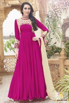Bollywood actress Karishma Kapoor pink georgette long anarkali salwar suit online and get discount price deal offer from Surat store. Diwali Special Discount Offer:  5% OFF FOR Buy 1 Product 10% OFF FOR Buy 2 Product 15% OFF FOR Buy 3 Product or more  #anarkalisalwarsuir, #bridalsalwarsuit, #designersalwarsuit, #partywearsalwarsuit, #designerdresses, #floorlengthanarkalisuit http://www.pavitraa.in/store/anarkali-salwar-suit/ callus: +91-7698234040