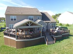 Spanning the entire length of the house, this spacious project is perfectly setup for hosting friends & family! Backyard Patio Designs, Backyard Projects, Patio Ideas, Yard Ideas, Timbertech Decking, Vinyl Deck, Backyard Renovations, Custom Decks, Downingtown Pa