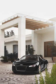 luxury home house architecture audi black apartment interior door living Porte Cochere, Audi R8 V10, Volkswagen Golf, Black Audi, Pergola Canopy, Latest Cars, Facade House, Expensive Cars, Luxury Lifestyle
