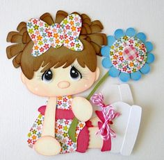 Niña                                                                                                                                                                                 Más Foam Crafts, Diy And Crafts, Crafts For Kids, Paper Crafts, Pink And Blue Flowers, Pink Blue, Merian, Shower Bebe, Decorate Notebook
