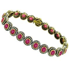 Estate 1960s 15.75ct Oval Cut Pink Sapphire 3.00ct Round Cut Diamond 18k Yellow, White & Oxidized Gold Bracelet