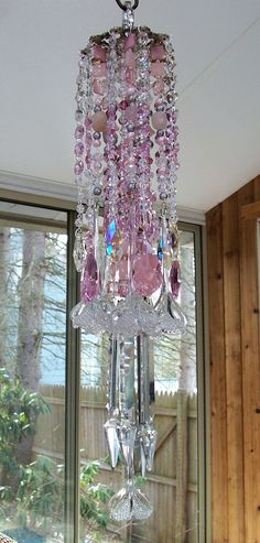 Pink Antique Crystal Flowers Wind Chime.
