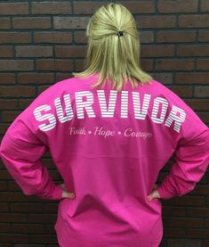 Survivor Spirit Tee Whether you beat cancer or know someone who has, this is the perfect jersey to create awareness. This very comfortable spirit tee is roomy and long making it a great shirt to wear