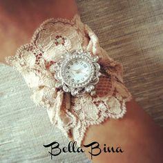 Victorian Style Antique Ivory Lace Watch Bracelet