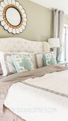 elegant, neutral bedroom decor. Grey master bedroom.