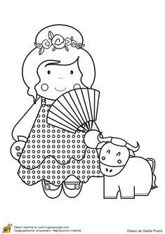 Coloriage / dessin Poupée espagnole Looney Tunes, Les Doodle, Doodle People, Mandala, Disney Scrapbook, Zentangle, Colorful Drawings, Digital Stamps, Art Activities