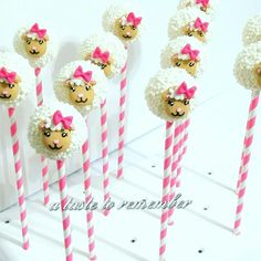Mary Had A Little Lamb baby shower cake pops