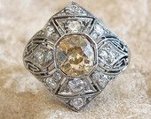 Vintage Art Deco Cape Diamond and Platinum Ring