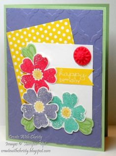 Flower Birthday Card by StampinChristy - Cards and Paper Crafts at Splitcoaststampers