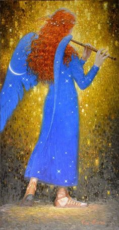 Flute-playing angel with long curly red hair and blue wings, by Victor Nizovtsev Angels Among Us, Angels And Demons, Victor Nizovtsev, I Believe In Angels, Ange Demon, Angel Pictures, Wow Art, Guardian Angels, Art Moderne