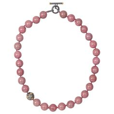 Yossi Harari Pink Carnelian Bead Necklace with Gilver & 24k Gold