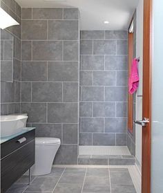 Showers Without Doors Design, Pictures, Remodel, Decor and Ideas. tiles and color Grey Bathroom Tiles, Grey Bathrooms, Master Bathroom, Grey Tiles, Master Shower, Bathroom Small, Wall Tiles, Zen Bathroom, Brick Tiles