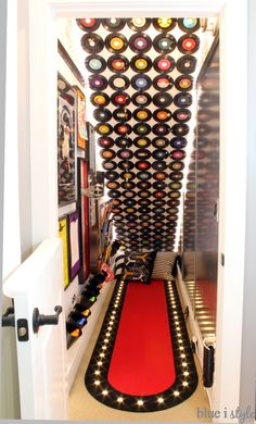 Rock & roll themed under stair playroom