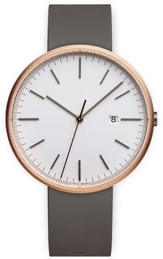M40 Men's date watch in PVD rose gold with dark grey nitrile rubber strap