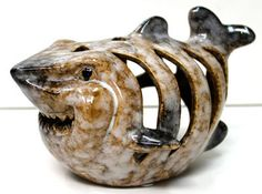 Ceramic Shark Tea Light Candle Holder - Nautical Bathroom Decor - Father's Day & Grad Gifts - California Seashell Company