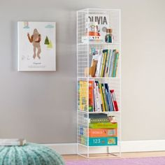 If you need additional storage, line up a couple of these bookcases. The jute bins fit perfectly in them.