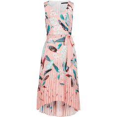 Falling Tropics Pleated Midi Dress ($100) ❤ liked on Polyvore featuring dresses, mid calf dresses, pleated midi dress, pastel dress, pink midi dress and calf length dresses