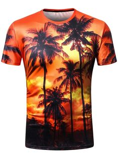 Crew Neck 3D Coconut Palm Print Hawaii T-shirt - DARK ORANGE M