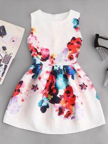 Enge Taille Kleid geprägte Blume