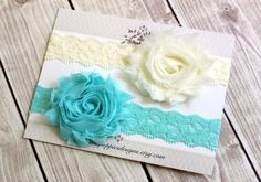 On Sale!  Flower Headband Set - Baby Lace Headbands- Ivory, Aqua - Ivory Lace Headband - Baby hair bows - Baby bows by PinkPoppiesDesigns on Etsy https://www.etsy.com/listing/200917393/on-sale-flower-headband-set-baby-lace