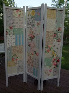 #DIY a room screen makeover with wallpaper scraps! from A Thing for Roses: Fun Thrifty Day and a New Project