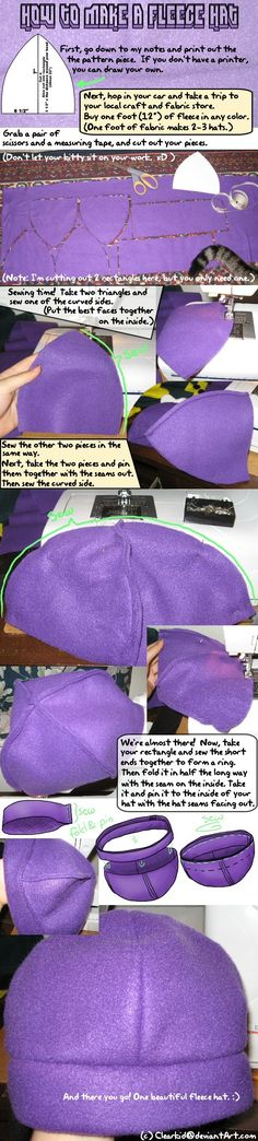 Great fleece hat tutorial. This is where I learned to make my first hat from, then added my own ears/etc. from there. :)