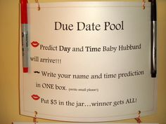 gender revel party ideas | Guests wrote their name and time prediction (the tie breaker if needed ...