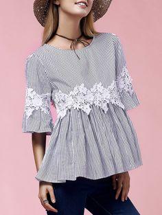 Stylish Flare Sleeve Round Neck Lace Embellished Blouse For Women in Blue   Sammydress.com