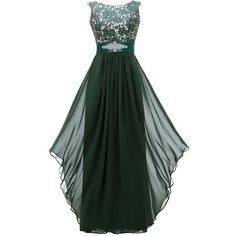 Grace Lee Women's Round Neck Chiffon Lace Long Prom Dresses ($48) ❤ liked on Polyvore featuring dresses, long homecoming dresses, lace dress, green cocktail dress, lace homecoming dresses and green homecoming dresses