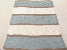 This knitted blanket pattern is thick, beautiful, and easy to make. The different texture with heart detail adds color and interest. Blanket pattern is perfect for your home, a wedding gift, or to sit in a cozy chair reading at the beach.  This is a KNITTING PATTERN listing, not the physical blanket.  Pattern name: Seaside Blanket  ♥ One of my most popular patterns, over 1,000 sold with great reviews! The PDF pattern is simple and easy to read with many pictures to guide you. It is knit…