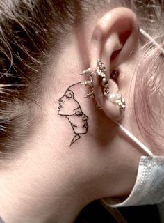 Gemini tattoo behind the ear by @nadiatattoos Behind Ear Tattoo Small, Back Ear Tattoo, Behind Ear Tattoos, Gemini Tattoo Designs, Tattoo Designs Foot, Tattoo Designs For Girls, Tiny Flower Tattoos, Cute Small Tattoos, Twin Tattoos