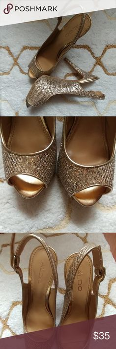 Prom high heels sequin peep toe 5 inch heels  Golden color  Used one time only  Aldo  Sequin  NO scratches or rips Shoes Heels