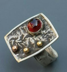 reticulated silver, 14K gold, garnet ring