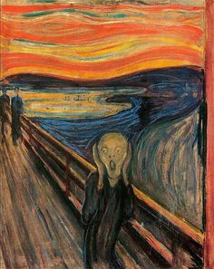 The Scream by Edvard Munch. Created in a set of 4 in the mediums of Oil, tempera, and pastel on cardboard by the Expressionist artist Edvard Munch between the years 1893 and Der Schrei der Natur (The Scream of Nature) is the title Edward gave the work. Le Cri Edvard Munch, O Grito Edvard Munch, Le Cri Munch, Munch Munch, Rembrandt, Edward Munch, Yato And Hiyori, Most Famous Paintings, Popular Paintings