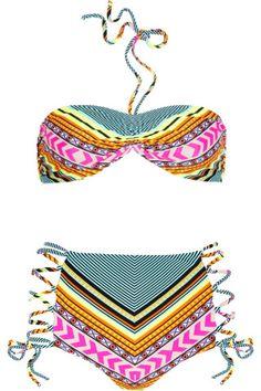Mara Hoffman Printed Lace-up Bikini // Net-a-porter