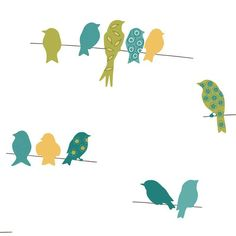 York Wallcoverings Bistro 750 Bird On A Wire Wallpaper Blue - KB8539