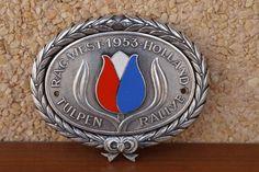 VINTAGE CAR BADGE TULIP RALLYE - TULPEN RALLYE RAC WEST HOLLAND 1953