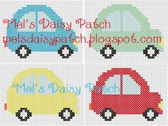 Mel's Daisy Patch Crochet and Crafts: 4 Little Cars Counted Cross Stitch Pattern (4 Patterns in 1)