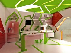 Green white red kitchen design