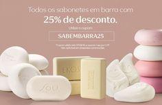 Comunicado Aqui tem cupom_SABEMBARRA25 Experimente as fragrâncias dos sabonetes em barra e aproveite para comprar online com 25% de desconto! Use o cupom SABEMBARRA25 ao finalizar a sua compra