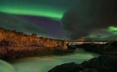 Cold Green River under green solar lights