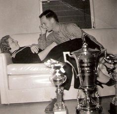 Grandparents Ralph and Martha Earnhardt along with the 1956 NASCAR Sportsman Championship trophy.