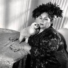 Etta James and strappy, riverside, california,1997~by Mary Ellen Mark  ♛