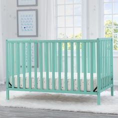 Shop for Delta Children Heartland Convertible Crib, Aqua. Get free delivery On EVERYTHING* Overstock - Your Online Furniture Outlet Store! Toddler Furniture, Baby Furniture, Furniture Deals, Living Room Furniture, Full Size Bed Headboard, Headboards For Beds, Portable Crib, Delta Children, Convertible Crib