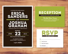 Printable Wedding Package - Invite, RSVP, Enclosure Card - Shelby Collection. $35.00, via Etsy.