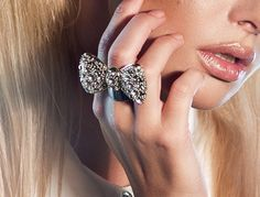Lucille large silver plated crystal bow ring  Shop Taupe & Pearl | Stunning Statement and Animal Jewellery | Rings