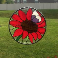 Stained glass red flower and purple butterfly suncatcher, glass flower, red flower, glass butterfly, summer decor