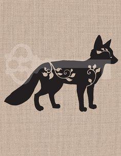 filigree fox silhouette