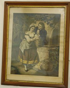 Antique Victorian Colored Lithograph Print by AgingBeautyBoutique